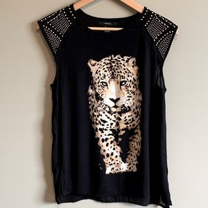 Forever 21 Beaded Leopard Top Size S